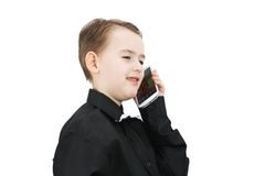 Pojke med en telefon Royaltyfri Foto