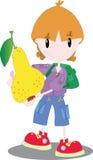 Pojke med ett päron Arkivfoto