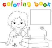 Pojke med ett plast- kort på kontrollen stock illustrationer