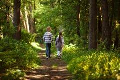 Pojke med flickan som går i sommarskogen Royaltyfri Bild