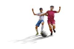 Pojke med fotbollbollen, fotbollsspelare på den vita bakgrunden isolerat Arkivfoto