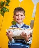 Pojke med högen av vedträt Royaltyfri Fotografi