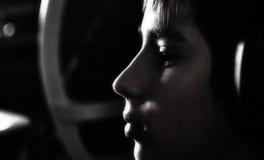 Pojke med hörlurar Royaltyfri Foto