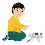 Pojke med hans brutna Toy Vector Illustration Arkivbilder