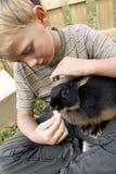 Pojke med hans första husdjur Fotografering för Bildbyråer