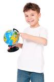 Pojke med jordklotet Royaltyfria Bilder