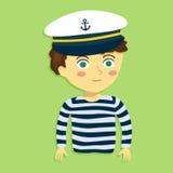 Pojke med kaptenen Hat och dräkt Royaltyfri Bild