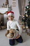 Pojke med korgen som är full av nallebjörnar Royaltyfria Bilder