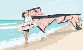 Pojke med maktdraken som går vid havet Royaltyfria Bilder