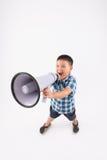 Pojke med megafonen Royaltyfri Bild