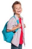 Pojke med ryggsäck Arkivfoton