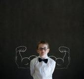 Pojke med starka armar Fotografering för Bildbyråer