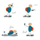 Pojke med symboler för mobil fyra Vektor Illustrationer