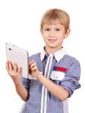 Pojke med tabletPC Arkivbilder
