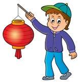 Pojke med temabild 1 för pappers- lykta royaltyfri illustrationer