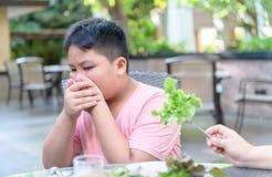 Pojke med uttryck av avsmak mot gr?nsaker arkivfoto