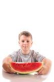 Pojke med vattenmelon Royaltyfri Fotografi