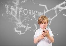 Pojke mot grå bakgrund med telefon- och informationsteknikdiagram vektor illustrationer
