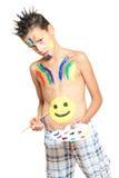 Pojke och färger arkivbild
