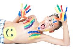 Pojke och färger royaltyfria foton