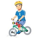 Pojke och förstörd cykelvektorillustration stock illustrationer