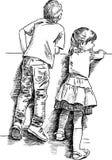 Pojke och flicka Fotografering för Bildbyråer