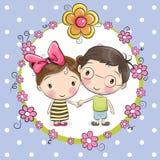 Pojke och flicka royaltyfri illustrationer
