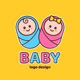 Pojke och flicka Baby shower nyfödd logo Royaltyfria Bilder