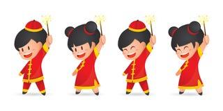 Pojke och flicka för nytt år för gullig tecknad film som kinesisk har gyckel med tomtebloss som isoleras på vit vektor illustrationer
