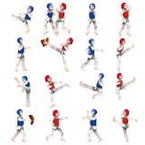 Pojke och flicka i den Taekwondo dräkten Fotografering för Bildbyråer