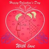 Pojke och flicka i hjärta med blommor på rött Arkivbild