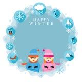 Pojke och flicka i vintersäsong, ram och etikett Royaltyfri Illustrationer