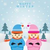 Pojke och flicka i vintersäsongen, bakgrund Stock Illustrationer