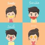 Pojke och flicka med fruktstil stock illustrationer