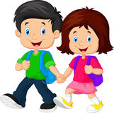 Pojke och flicka med ryggsäckar royaltyfri illustrationer