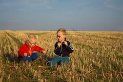 Pojke och flicka på fältet Royaltyfri Foto