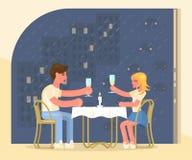 Pojke och flicka p? ett datum i ett kaf? royaltyfri illustrationer