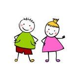 Pojke och flicka Par för vektor för stil för barn` s Royaltyfria Bilder