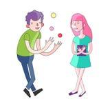 Pojke och flicka som har gyckel Arkivbild