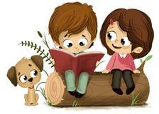 Pojke och flicka som läser den röda boken Royaltyfria Bilder