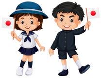Pojke och flicka som rymmer den Japan flaggan royaltyfri illustrationer