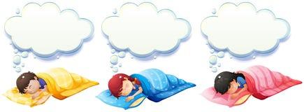 Pojke och flicka som sover under filten Fotografering för Bildbyråer