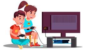Pojke och flicka som spelar för videospel vektorn tillsammans isolerad knapphandillustration skjuta s-startkvinnan stock illustrationer