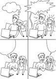 Pojke och flicka som talar i säng med den komiska remsan för bärbar dator Bubblar Retro humorbokanförande för vektorn illustratio stock illustrationer