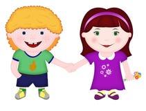 Pojke och flicka som tillsammans står och rymmer händer royaltyfri illustrationer