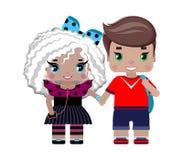 Pojke- och flickainnehavhänder, i sommarkläder royaltyfri illustrationer