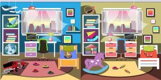 Pojke- och flickarumuppsättning royaltyfri illustrationer