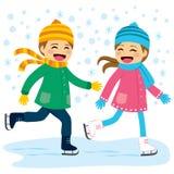 Pojke- och flickaskridskoåkning royaltyfri illustrationer