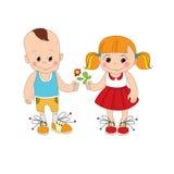 Pojke- och flickatecken Arkivfoton