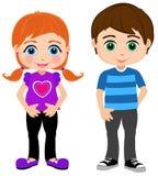 Pojke- och flickaungdom stock illustrationer